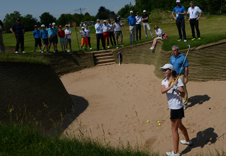 Paul McGinley und Junior Team Germany Spielerin Nina Lang